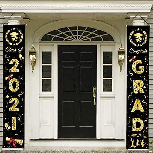 2021 Graduation Decorations- Graduation Party Supplies Congrats Grad Porch Sign Banner, Graduation Party Decorations Door Hanging Banner for Party Backdrop Indoor Outdoor(Black/Gold)