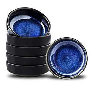 Uniidea Ceramic Side Dishes Set of 6, 3.5 Inch Porcelain Seasoning Bowl Soy Dipping Sauce Dishes Retro Style Glazed Ceramic Blue with Black Edge