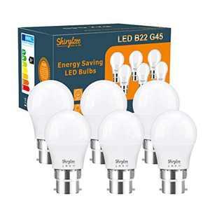 B22 LED Bulbs, 5W LED Bayonet Light Bulb 50W Incandescent Bulb Equivalent Cool White 6500K Energy Saving Lightbulbs Non-Dimmable, Pack of 6