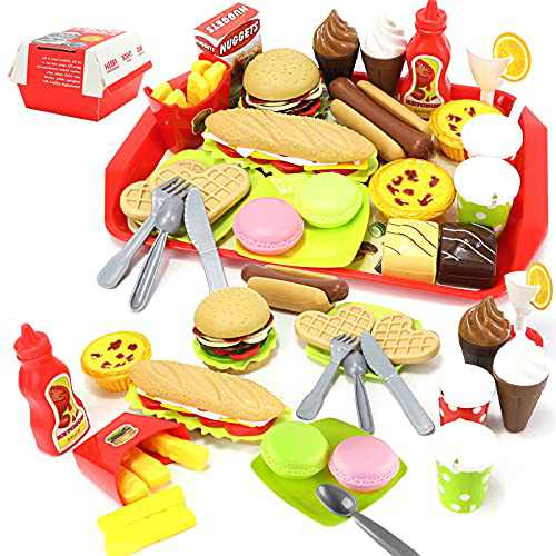BoomCaCa Pretend Play Fast Food Toys Set, Play Kitchen Accessories Including Burger Fries Ice Cream Hot DogWaffle Fake Food Toy, Birthday Gifts for Girls Boys Kids
