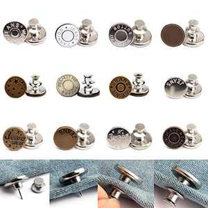 Button Pins for Jeans, Perfect Fit Jean Button Replacement, Adjustable Jean Button Pins Metal Clips Snap Tack No Sew Instant Extend or Reduce Any Pants Waist (A, 12 PCS)