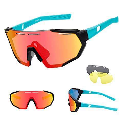 Ukoly Cycling Sports Sunglasses,Polarized Sunglasses with 3 Interchangeable Lenses,Baseball Running Fishing Golf