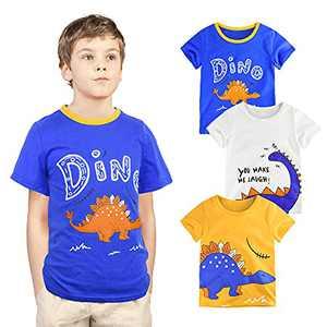 ZukoCert 2-8 Years Boys T-Shirts 3 Pack Dinosaur Kids Tee Set for Kids 100% Cotton Short Sleeve Tops Summer Boys Tees(A2_100)