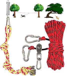 Dog Tie Out Cable for Camping - 50ft Heavy Duty Overhead Trolley System and Dog Rope Toys with a Big Spring Pole Kit for Dogs up to 200lbs, Portable Reflective Dog Lead Line for Yard, Park and Outdoor
