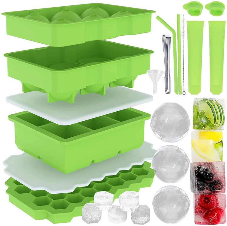 Cieex Silicone Ice Cube Trays Large Ice Cube Moulds with Lid Giant Ice Ball Cube Maker Perfect for Freezer Juice Chocolate Fruit Yogurt or Whiskey Cocktail Cube ( BPA Free, Multiple Accessories)