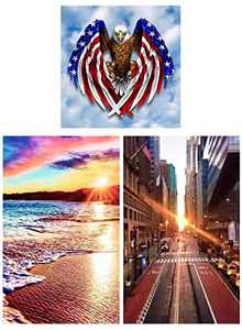 American Flag Eagle DIY 5D Diamond Painting Kits for Adults &Kids Digital Painting Round Diamonds Bead Pictures Arts Craft for Home Wall Decor Gift for Father (30X30CM)