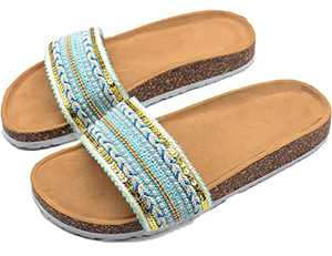 2021 New Bohemian Ethnic Style Sandals Boho Slip On Cute Flat Slides For Women Dressy Summer With Arch Support And Cork Sole Green Size 5
