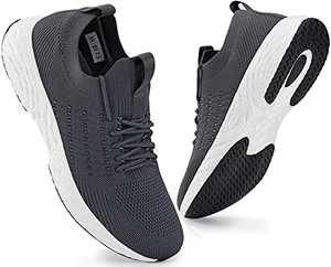 SCICNCN Mens Walking Shoes Lightweight Breathable Slip On Athletic Sneakers Tennis Casual Running Shoes Grey