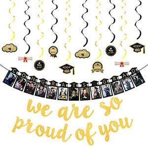 2021 Graduation Banner Decoration Set - Congrats Grad Photo Banner, Gold Glittery We are So Proud of You, 10PCS Hanging Swirls - DIY Graduation Party Supplies for Indoor Outdoor Decor