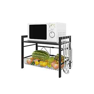 WHIFEA 2 Tier Adjustable Microwave Oven Rack with Large Metal Mesh Basket Countertop Storage Shelf with 4 Removable Side Hooks for Kitchen Bedroom Study Home Office