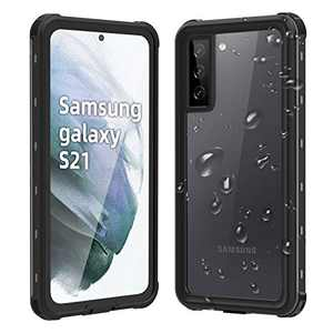 WIFORT Case Fit for Samsung S21,IP68 Waterproof Case Full Body Protective Built in Screen Protector,Dual Layers Cover Snowproof Shockproof Dustproof for Galaxy S21 (6.2 Inch) Case,Black + Clear
