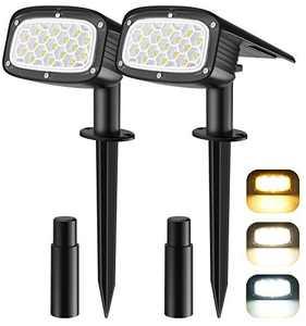 Solar Spot Lights Outdoor, 34 LEDs Solar Landscape Lights IP67 Waterproof Solar Lights Outdoor Auto ON/OFF for Yard Garden Driveway Walkway Pool Patio Adjustable Cold & Warm & Mixed Solar Spot Lights