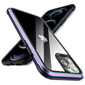 """Meifigno Compatible with iPhone 12 Pro Max Case, Military Grade Protection, Aluminum Frame, Transparent Hard PC with Soft Edges, Shockproof Phone Case Designed for iPhone 12 Pro Max 6.7"""", Iridescent"""