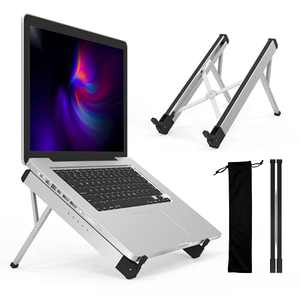 """DTK Laptop Computer Stand with 6 Angles Portable Adjustable Laptop Holder Riser Aluminum Alloy Notebook Stand Foldable Desktop Stand for 10 to 17""""Laptops Silver"""