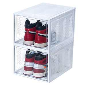 Fortune Shoe Organizers & storage Bins Boxes with Ventilation Holes fits for Men Women Sneakers US Size Up to 14, Stackable Up to 15 Layers, Max Compression Force up to 100 LBS, Set of 2 Pack (White)
