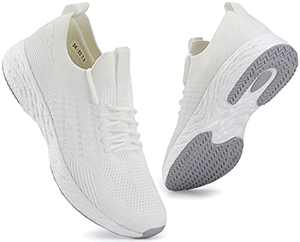 SCICNCN Walking Shoes for Men Lightweight Mesh Breathable Non Slip Casual Tennis Sneakers Athletic Running Shoes White
