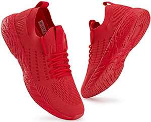 SCICNCN Mens Walking Shoes Lightweight Breathable Slip On Athletic Sneakers Tennis Casual Running Shoes Red