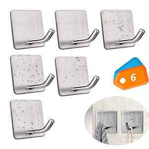Hogreat Adhesive Hooks Heavy Duty Stick-on Wall Self-Adhesive Hanging Hooks Clothes Hangers for Kitchen/Living Room/Bathroom/ Whole House Use   Stainless Steel Waterproof Towel Hooks- 6 Pieces