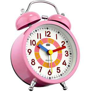 Analog Alarm Clock Battery Operated for Heavy Sleepers Twin Bell Non Ticking Silent Bedroom Bedside Vintage Classic Alarm Clock with Night Light (Pink)