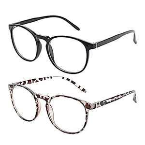 Amazon Brand –Eono Blue Light Blocking Glasses Women Men- Anti Glare Round Eyeglasses for Computer, Gaming, TV- 2 Pack