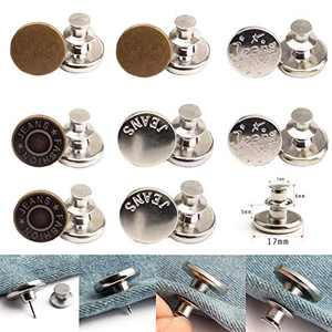 Button Pins for Jeans, Perfect Fit Jean Button Replacement, Adjustable Jean Button Pins Metal Clips Snap Tack No Sew Instant Extend or Reduce Any Pants Waist (B, 8PCS)