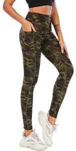 Fancyskin Best Leggins for Womens Yoga Pants Camo Capri Full Length Fitness Tights Dark Green XL
