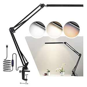 14W LED Desk Lamp with Clamp, USB Clip-on Table Lamp, Eye-Care Dimmable Reading Light, 3 Color Modes Swing Arm Lamp,Daylight Lamp for Desk Accessories, Study, Architect, Office, Bedroom
