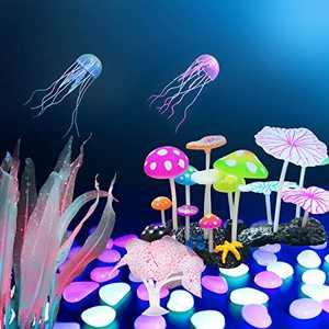 TIRTI 26 Pieces Glow Aquarium Decorations, Simulation Silicone Jellyfish Coral Lotus Leaf Kelp Mushroom, Plant Ornament for Fish Tank Decorations with Glowing Stone Accessories Decor
