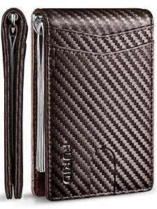 FURID Carbon Fiber Wallet, Slim Wallet for Men, Small Front Pocket Wallet, Mens Bifold Money Clip Wallets, Rfid Card Holder +Gift Box