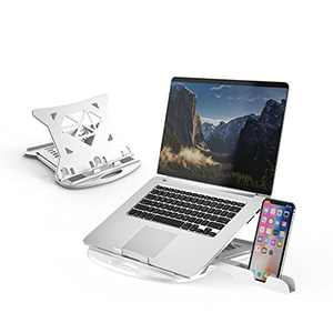 """DTK Laptop Stand with 360 Swivel Base Adjustable Computer Stand with Phone Holder Multi-Angle Stand for Desk Portable Foldable Laptop Riser Notebook Holder Compatible for 10 to 17"""" Laptops (White)"""