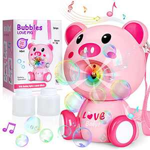 Bubble Machine, Automatic Bubble Machine for Kids Toddlers, No Spills Bubble Blaster with Music Lights, Bubble Maker Blower with 2 Solution Refills, Outdoor Bubbles Toy for Toddlers Boys Girls Kids