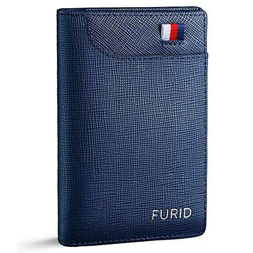 FURID Slim Mens Wallet Bifold Blue, Minimalist Genuine Leather Front Pocket Wallet, RFID Blocking Credit Card Holder Wallet for Men, Ultra thin Flat Wallet with Gift Box