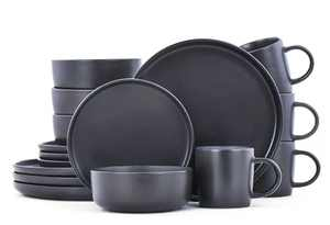 Famiware Dawn Dinnerware Set, 16 Piece Dishes Set, Plates and Bowls Set for 4, Black Matte