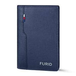 FURID Mens Leather Wallet Blue, Minimalist Men's Rfid Blocking Front Pocket Wallet, Simple Slim Credit Card Holder Wallet for Men,Ultra thin Mini Wallet with Gift Box