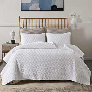 Figuran Jersey Quilt Set Moisture Triangle Stitched Light Weight 3 Piece Oversized All-Season Quilt Set Bedding King Size, Jersey Knit Cotton-Blend Reversible Coverlet Set with 2 Pillow Shams White