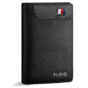 FURID Slim Mens Wallet Bifold Black, Minimalist Genuine Leather Front Pocket Wallet, RFID Blocking Credit Card Holder Wallet for Men, Ultra thin Flat Wallet with Gift Box