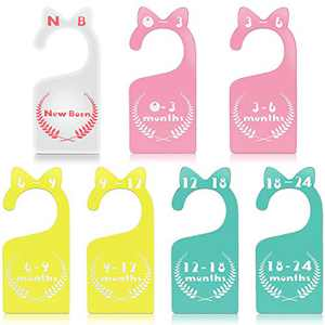 Baby Closet Size Dividers Masqudo 7 Pieces Nursery Organizers Acrylic Baby Closet Hanging Closet Divider From Newborn to 24 Month Baby Cloth Organizers for Nursery Decor Baby Clothes Organizers