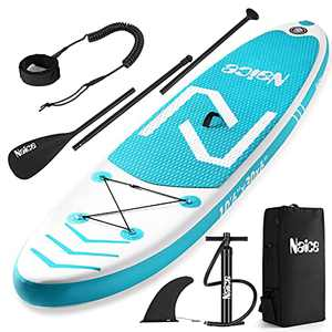 """Naice Inflatable Stand Up Paddle Board, 10'6 × 30"""" × 6""""SUP w/Paddle, Detachable Fin, Air Pump w/Gauge, Safety Leash, Backpack for Beginners, Adults, Youth, Touring Fishing Water Yoga All Skill Levels"""