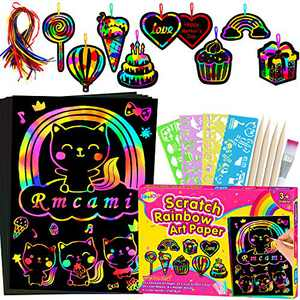 RMJOY Art-Craft Scratch Paper for Girls: Rainbow Magic Art Drawing Pads Leaning Supplies Set for Kids Teen 4-12 Years Old Preschool Girl Toy Game Gift for Birthday Party Favor Coloring Fun DIY Project