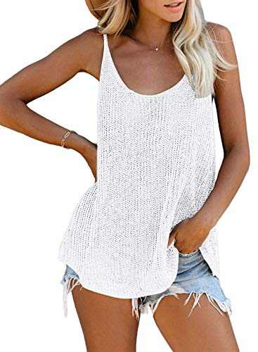 QegarTop Women's Scoop Neck Knit Tank Top Sleeveless Cami Sweater Shirts Loose Summer Blouses White XL