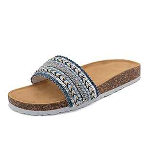 2021 New Bohemian Ethnic Style Sandals Boho Slip On Cute Flat Slides For Women Dressy Summer With Arch Support And Cork Sole Navy Size 7
