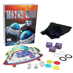 Minidiva Board Game Maths War, Spaceship Exploration Card Game for Kids, Unlock Math Results Learning Equation for Teens Age 7 Years&Up and Families