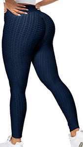 AISHEEY Women's Yoga Pants Scrunch Butt Lifting Workout Leggings High Waist Textured Anti Cellulite Tummy Control Leggings (A-Navy, Small)