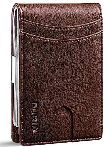 FURID Minimalist Wallet for Men, Leather Wallet, Mens Wallet Slim, RFID Blocking Front Pocket Wallets, Ultra thin Money Clip Wallet for Men Gift