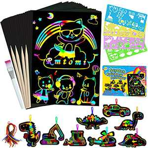 RMJOY Art-Craft Scratch Paper for Kids: Magic Rainbow Drawing Art Pads Leaning Supplies Kits for Kids Teen 4-12 Years Old Preschool Boys Toy Game Gift for Birthday Party Favor|Coloring Fun|DIY Project