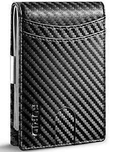 FURID Minimalist Wallet for Men, Carbon Fiber Wallet, Mens Wallet Slim, RFID Blocking Front Pocket Wallets, Ultra thin Money Clip Wallet for Men Gift