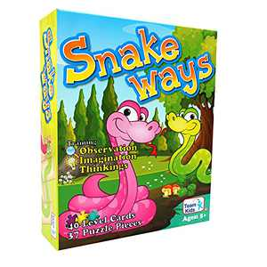 Minidiva Board Game Snake Way, Snakes and Ladders Card Game Family Puzzle for Kids Ages 5 and Up, for 2-4 Players
