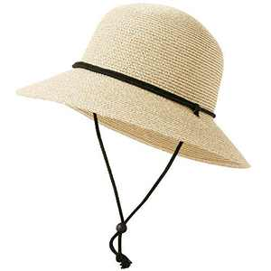 Lanzom Womens Foldable Wide Brim Straw Roll Up Sun Hat UPF 50 Summer Sun Hats with Wind Lanyard (Mixed Beige, One Size)