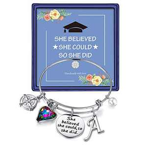 Turandoss Inspirational Graduation Gifts for Her 2021, Engraved Inspirational Bangle Mantra Quote She Believed She Could So She Did Charm Bracelet Graduation Friendship Gifts(Silver A)
