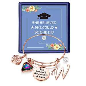 Inspirational Graduation Gifts for Her 2021, Engraved Inspirational Bangle Graduation Grad Cap Mantra Quote She Believed She Could So She Did Charm Bracelet Graduation Friendship Gifts(Rose Gold W)